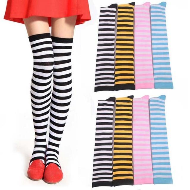 89f6497c8d20 Girls Classic Striped Knee High Socks Lacrosse Long Socks Ladies Thigh High  Leg Warmers Socks Christmas Halloween Cosplay Wear