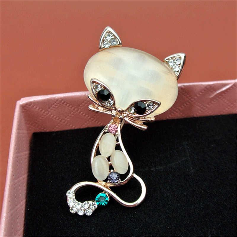 ゴールド充填多色オパール石キツネのブローチ女性のファッションかわいい動物ピンブローチジュエリー