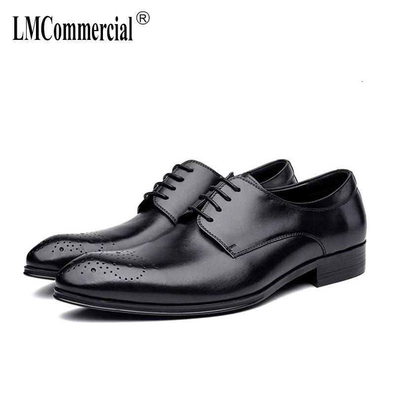 High Quality Genuine Leather formal business mens shoes designer men high quality British retro cowhide autumn