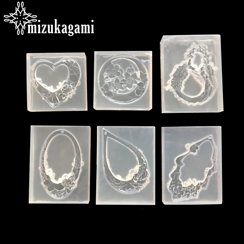 1pcs UV Resin Jewelry Liquid Silicone Mold Hollow Charms Pendant Lanugo Resin Molds For DIY Earrings  Jewelry Making Accessories