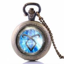 Los Cazadores de Ciudad de Hueso Angelic Poder Joyería de la vendimia Runas Cazadores de Sombras Collar Reloj de Bolsillo para hombres y mujeres