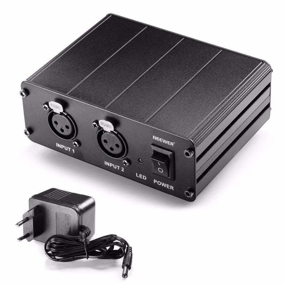 Neewer 2 канала 48 В Phantom Питание w/Адаптеры питания для конденсаторных Микрофоны передачи звукового сигнала к внешней звуковой карты
