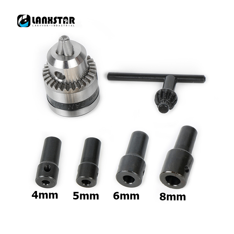 New Motor B10 Drill Chuck 0.6-6mm Mount Taper with 4/5/6/8MM Connector Rod Motor Shaft and Wrench Rotary Tool Accessories new 50mm concrete cement wall hole saw set with drill bit 200mm rod wrench for power tool