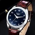 Relógio de 2016 homens Novos da Chegada Prevista Moda Casual Couro Macio de Alta Qualidade À Prova D' Água de Pulso de Quartzo Relógios Para Homens Heren Horloge 0506