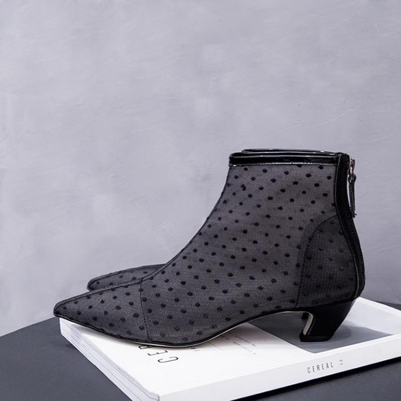Cm Talons Bout 2017 Automne En Femmes 4 Noir Marque Femme Robe Chaton De Cheville Pointu Bottes Luxe Pointillé Chaussures Tulle qAwXt
