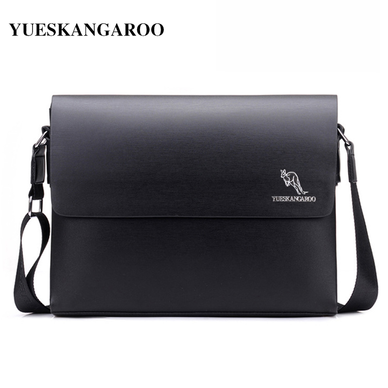 YUES KANGAROO Famous Brand Men Messenger Bag Casual Mens Leather Business Briefcase Bag Small Crossbody shoulder Bag Male bolsas newest 1 way 1 gang crystal glass panel smart touch light wall switch remote controller gold ac110v 240v