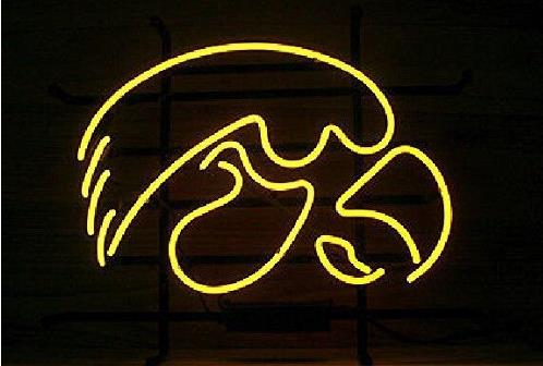 Custom IOWA HAWKEYES Glass Neon Light Sign Beer BarCustom IOWA HAWKEYES Glass Neon Light Sign Beer Bar