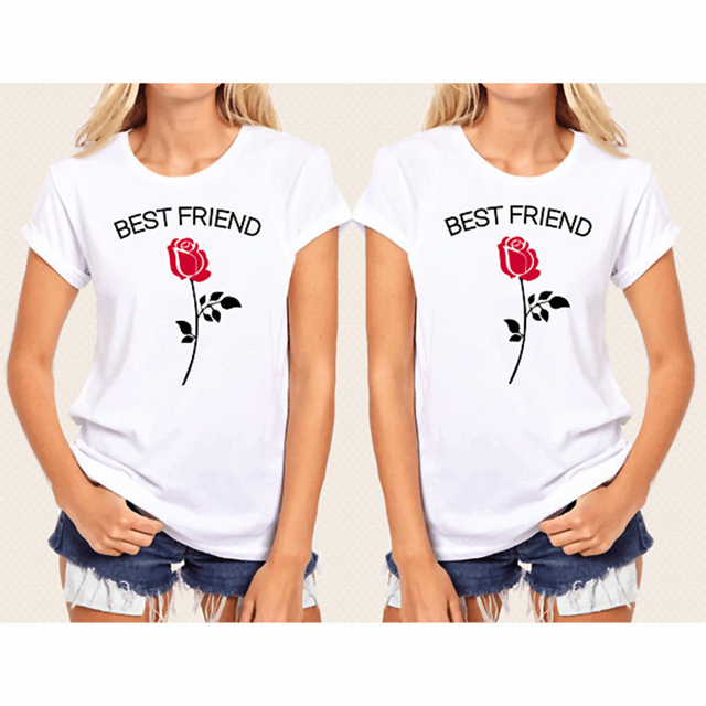f5c4fbd9 EnjoytheSpirit Best Friend Tees Gift for BFF Shirt Red Rose Graphic  Printing White Soft Cotton Loose