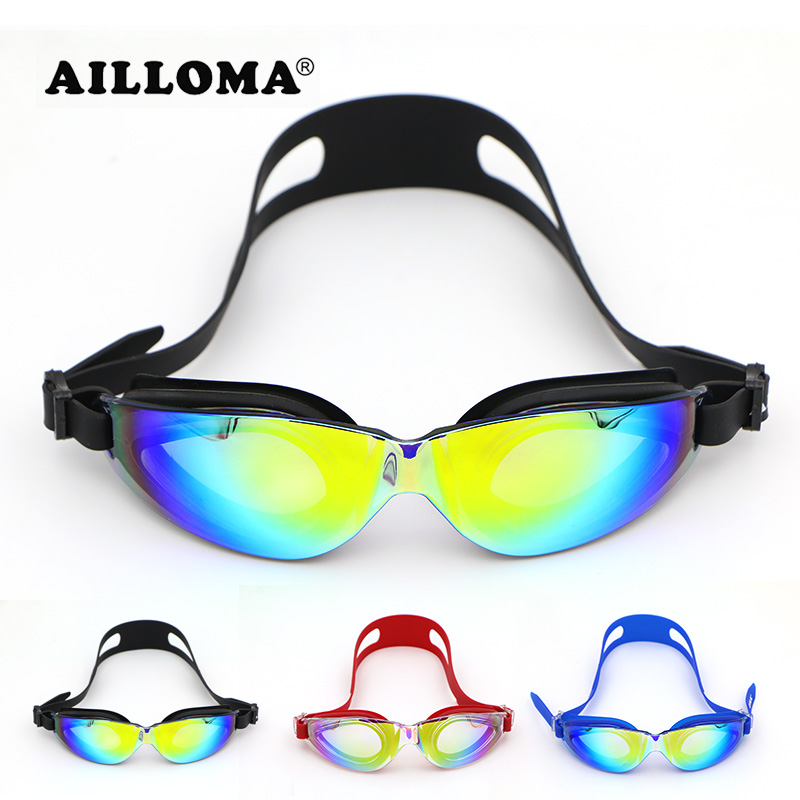 Ailloma 2017 novo estilo esporte óculos de natação das mulheres dos homens grande anti nevoeiro anti uv óculos de natação espelho de silicone à prova d 'água