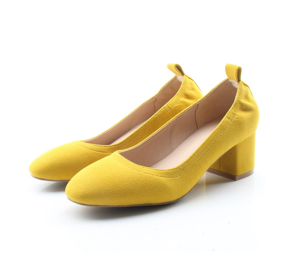 Shoes Women Genuine Leather Fashion Office and Career Rounded Toe 2-inch Block Heel Fashion Office Lady Pumps Size 34-41, K-307 60