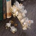 Corea del tocado de novia head pelo de la flor de seda hilo de pasar la eternidad hoop pendientes Crown Set Accesorios de La Boda 0911