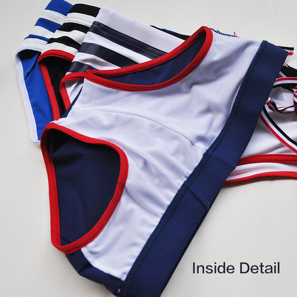Topdudes.com - High Quality Low Rise Strips Nylon Swimwear