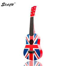 SOACH High quality Guitarra Red British flag  Flag Professional 21″ Acoustic  Music  6 Steel String Children bass guitar