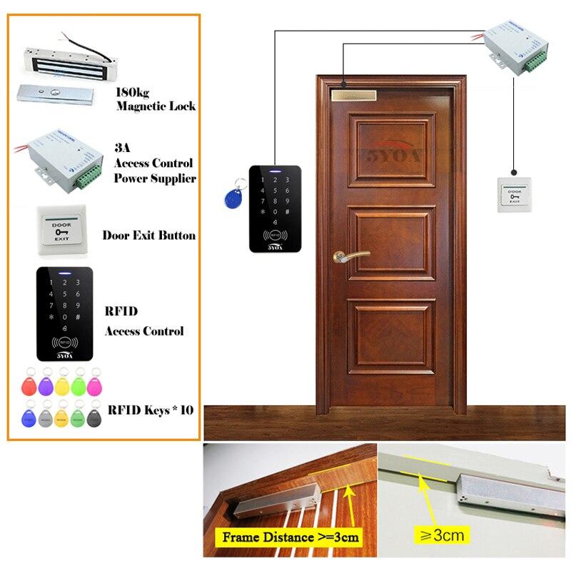 5YOA RFID система контроля доступа DIY Kit дверной замок стекло ворот набор Электронный магнитный замок ID карта блок питания Кнопка