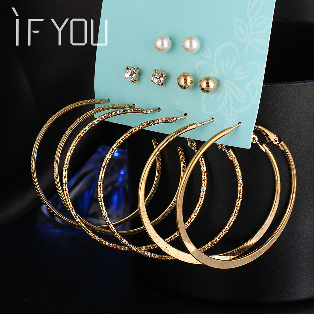 IF YOU 6 Pairs/Set Fashion Gold Color Silver Color Punk Crystal Stud Earrings Set For Women 2017 NEW Brinco Costume Jewelry