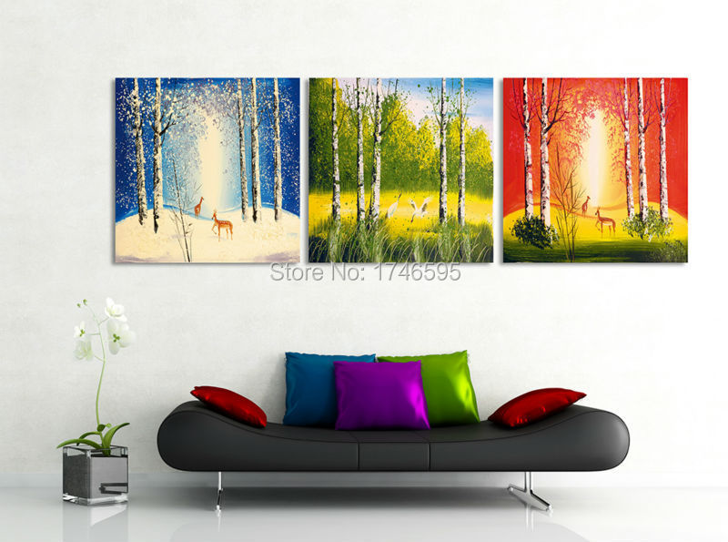 big 3pcs living room bedroom wall decor home wall decor wall art picture forest four seasons. Black Bedroom Furniture Sets. Home Design Ideas