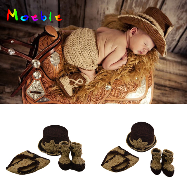 9422db99654d7 Classic Crochet Newborn Baby Boys Western Cowboy Photography Props Knitted Cowboy  Hat Diaper and Booties Set Infant Boys Costume