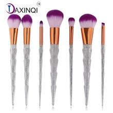DAXINQI 7pcs diamond shape makeup brush kit glitter plastic handle synthetic hair foundation powder eyeliner lip brush tools