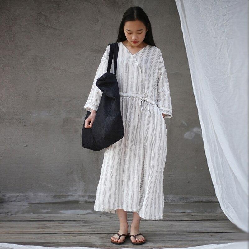 Johnature Women Striped Dress Belt V Neck 2019 Spring New High Waist Loose Vintage Robe Women