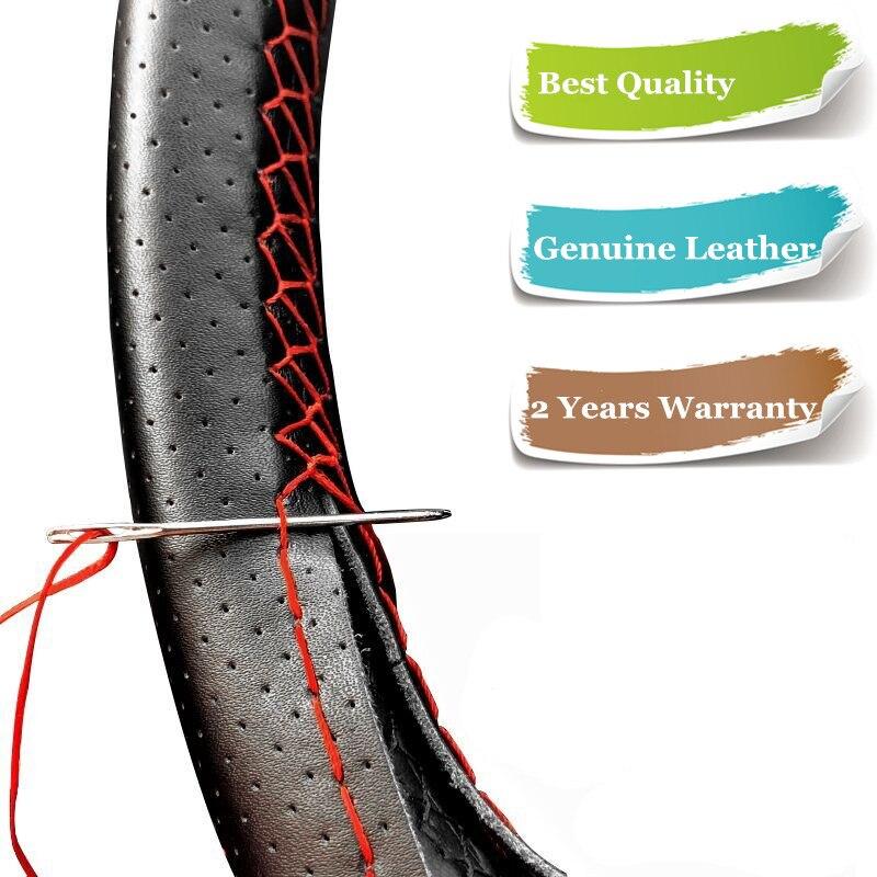 DIY Genuine Leather Steering Wheel Cover Uiversal 38cm Car SUV Steering Wheel Braid Wrap on the Steering Wheel