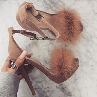 Trendy Line Buckle Style Platform Sandals Classy Brown Suede Fake Fur Decorated Stiletto Heel Dress Sandals Sexy Open Toe Shoes