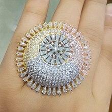 Godki luxo 3 tone noivado casamento flor anéis para mulheres nupcial zircon cúbico dubai acessórios anel de dedo jóias 2019