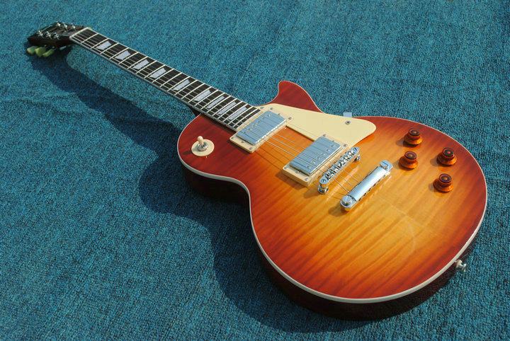 Custom shop 50th Anniversary LP Cherry Sunburst flamed maple top LP guitar with chrome hardware electric guitar free shipping