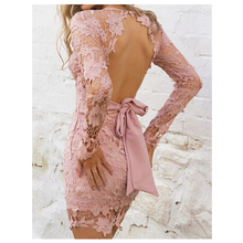 TFGS Women Deep V-neck Long Sleeve Lace Floral dress backless Mini Dress with bow belt Dresses (Pink,S/US~4/UK~8)
