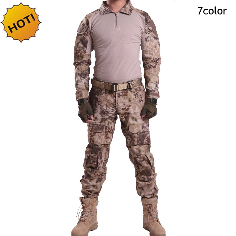 HOT 2018 Outdoors spring Autumn CP Tactical Camouflage Sleeve Jungle Combat Army Military Patchwork Slim Fit Commando Set S XXXL