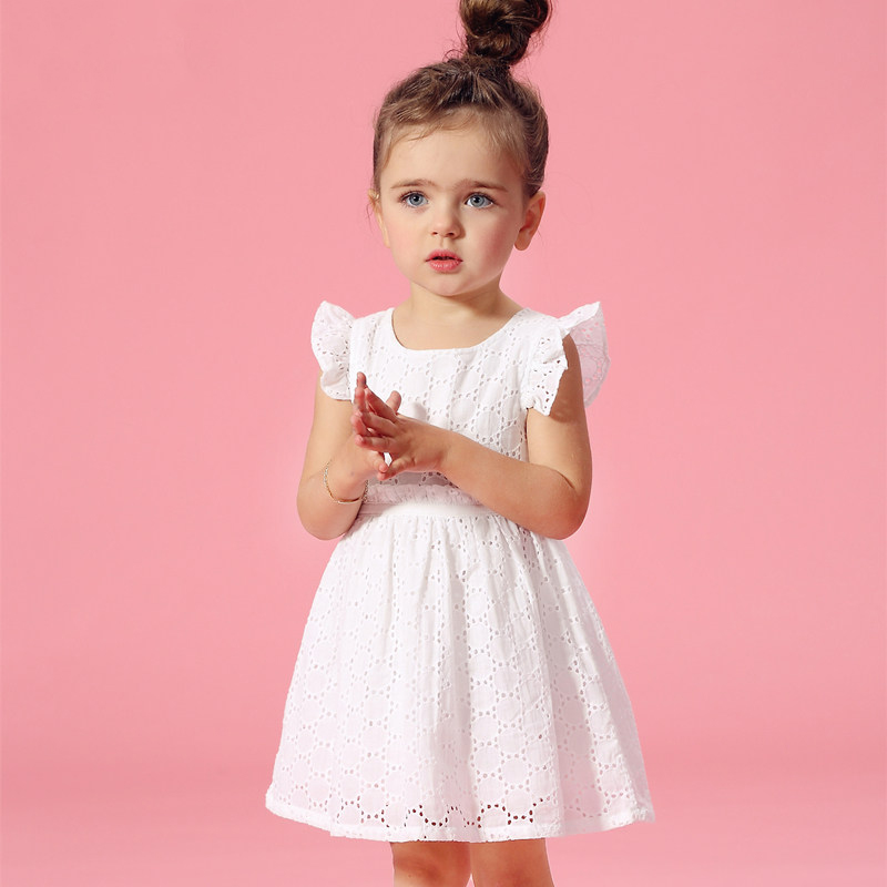 2016 Summer Flutter Sleeves Kids Cotton Frock Designs Lace Crochet Elegant Baby Girl Dress For Age 2 3 4 5 6 7 8 Birthday Dress платье frock and frill frock and frill fr055ewdlds8