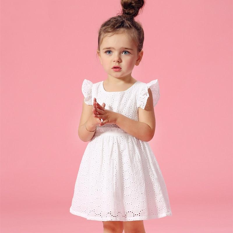 2016 Summer Flutter Sleeves Kids Cotton Frock Designs Lace Crochet Elegant Baby Girl Dress For Age 2 3 4 5 6 7 8 Birthday Dress geo lace yoke flutter sleeve top