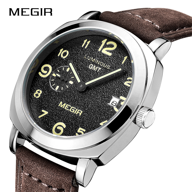 MEGIR Men's Military Sports Wristwatches Fashion Luxury Leather Watch Men Waterproof Quartz Watches Clock Male Relogio Masculino new listing men watch luxury brand watches quartz clock fashion leather belts watch cheap sports wristwatch relogio male gift