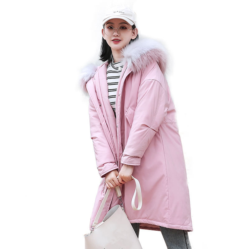 Winter Jacket Women   Parka   Down Cotton Coat Fur Collar Long Jacket Outerwear Warm Padded Casual Oversized Jacket Coat   Parka   Q1051
