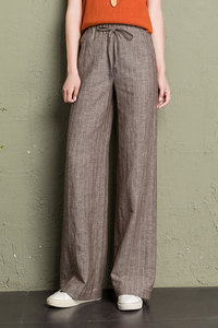 Image 5 - cotton linen wide leg pants women 2019 summer striped Breathable plus size harajuku gothic trousers women palazzo pants capri