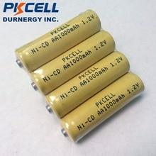 4 adet PKCELL 1000mAh 1.2V AA NiCd şarj edilebilir endüstriyel piller düğme üst
