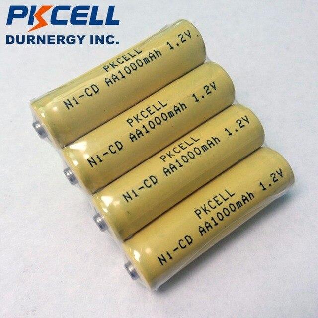 4pcs PKCELL 1000mAh 1.2V AA NiCd נטענת Industrail סוללות כפתור למעלה