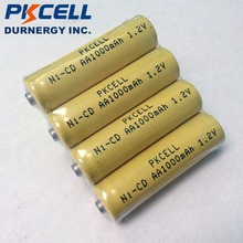 4pcs PKCELL 1000mAh 1.2V AA NiCd Rechargeable Industrail Batteries Button Top