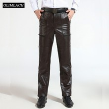 Brown Mens Luxury Cowskin Real Leather Trousers Plus Size Loose Genuine Pants Man Zipper Cowhide Motorcycle Riding