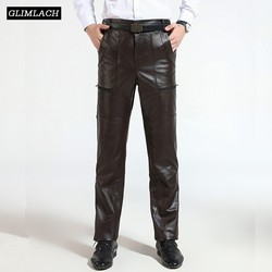 Bruin Heren Luxe Koeienhuid Echte Lederen Broek Plus Size Losse Lederen Broek Man Rits Koeienhuid Motorrijden Broek