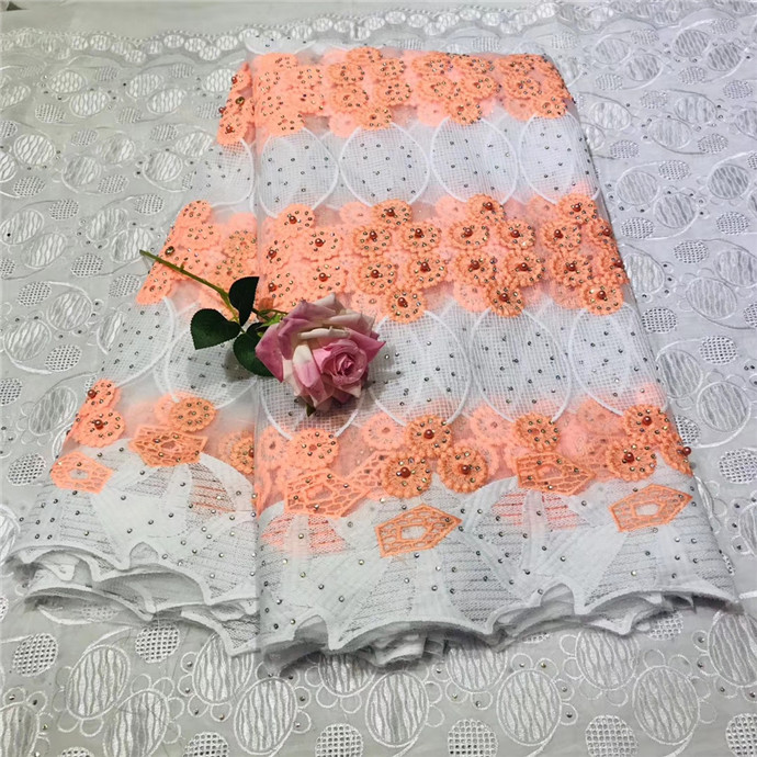 Beautiful Peach Color High Quality Nigerian Lace Fabrics For Wedding 2018 Latest African French Lace Fabric with Beaded (2-19Beautiful Peach Color High Quality Nigerian Lace Fabrics For Wedding 2018 Latest African French Lace Fabric with Beaded (2-19