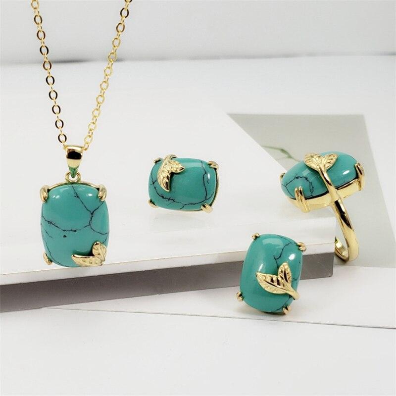 Vert/bleu/rouge pierre naturelle 925 argent Sterling cristal femmes Vintage bijoux ensemble S925 pendentif collier anneau boucles d'oreilles ensembles