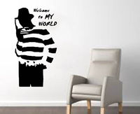 Halloween Wall Decal Freddy from Nightmare on Elm Street Welcome to My World Quote Wall Sticker Shop Bedroom Home Deoration