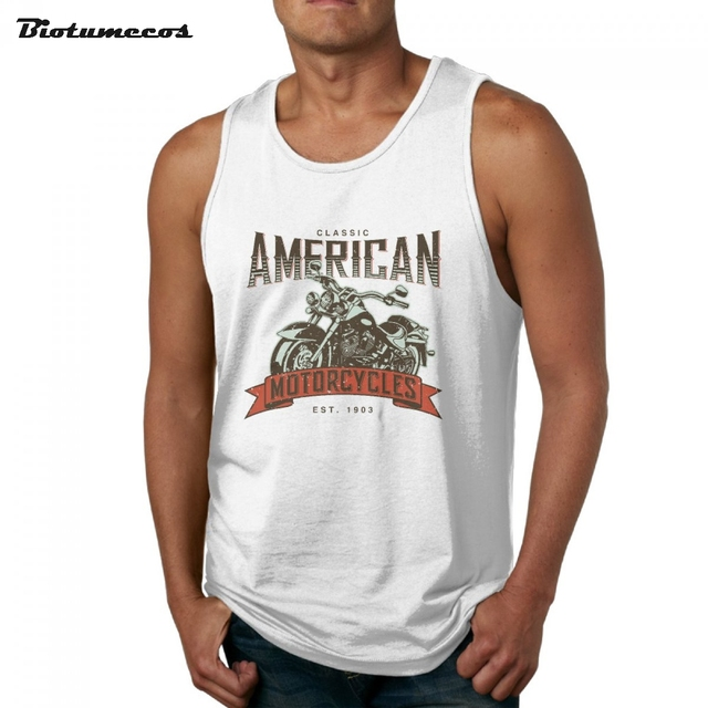 6ed0f7b2a0c92 Classic American Motorcycles Printed Men Tank Tops Fashion 100% Cotton  Brand Sleeveless Undershirts Casual Summer Vest MBY008