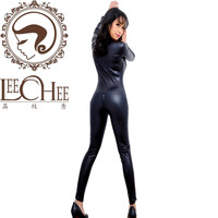 Q721 Sexy Underwear Uniforms Temptation Conjoined With Long Zipper Large Leather Clothing Body Plastic Leather Female