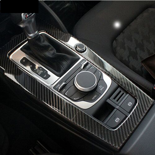 Carbon fiber Console Gear Shift Panel Decoration Cover Trim For Audi A3 8V 2012-17 Water Cup holder Decal Interior