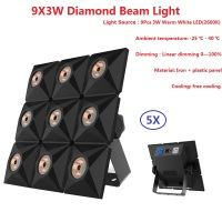 5XLot 30W High Brightness LED Diamond Beam Lights 9X3W Warm White LED Matrix Light LCD Display