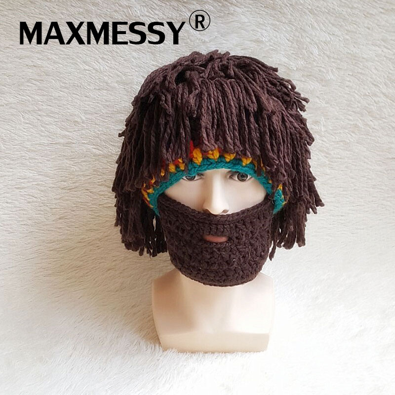 MAXMESSY Funny Wig Beard Hats Hobo Mad Scientist Rasta Caveman Knit Warm Winter Caps Men Women Halloween Gift Party Mask Beanies