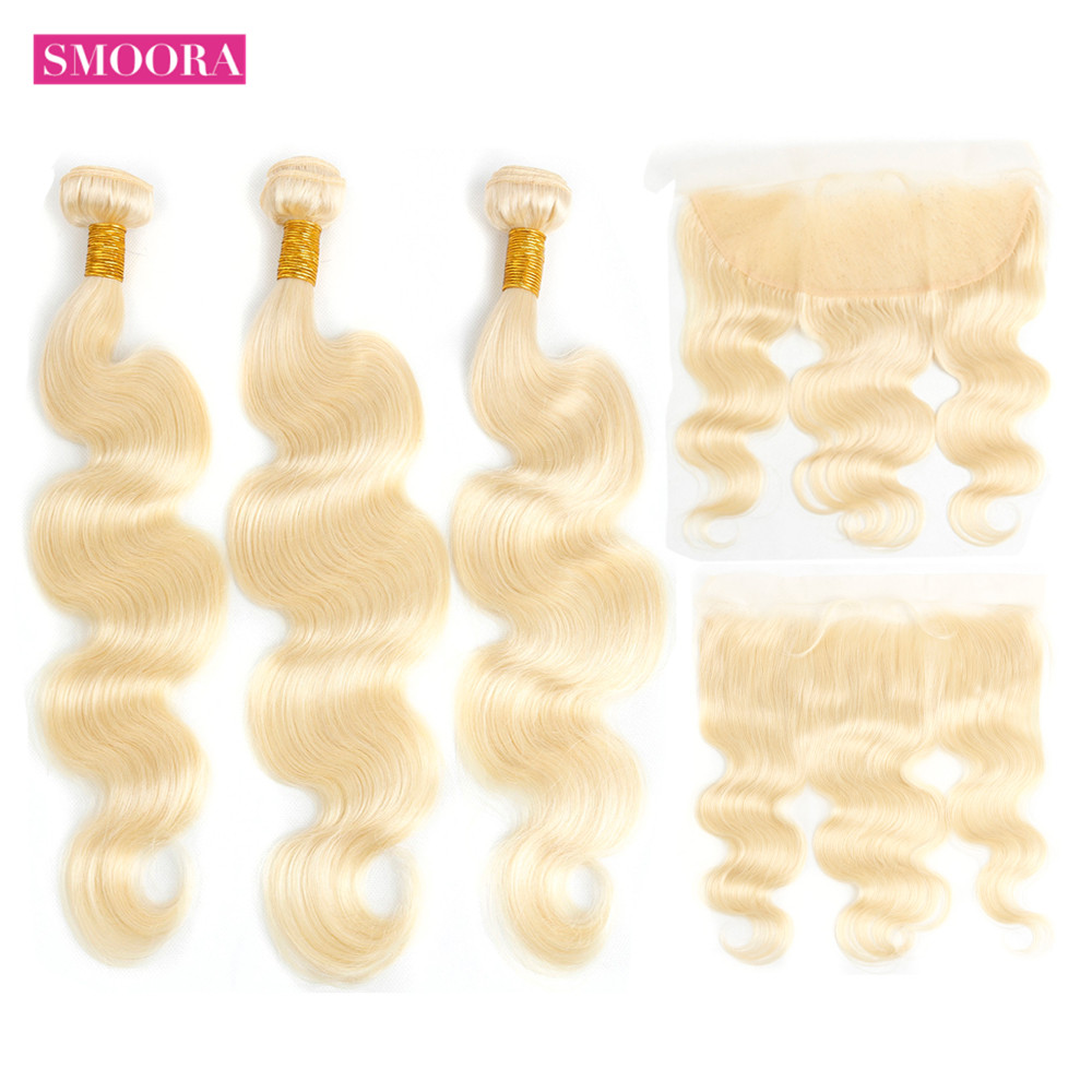 Smoora 613 Blonde Bundles with Frontal  Body Wave Blonde  Bundles with Pre Plucked Frontal Ear to Ear  1