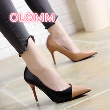New Euro-American style pinpoint, shallow mouth color matching Stiletto High heels in 2019