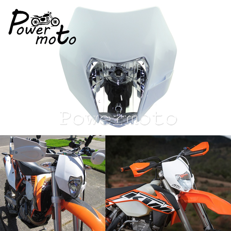 White Supermoto Motorcycle Headlight Headlamp Dual Sport Dirtbike Off Road Motocross Head Light Mask For KTM SMR EXC SX YamahaWR
